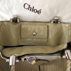 Chloe Heloise Bamboo Green Patent Leather Bag